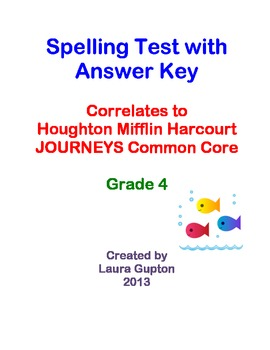 Journeys CC Unit 5 Lesson 23 Spelling Test Grade 4