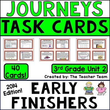 Journeys 3rd Grade Unit 2 Early Finishers Task Cards 2014