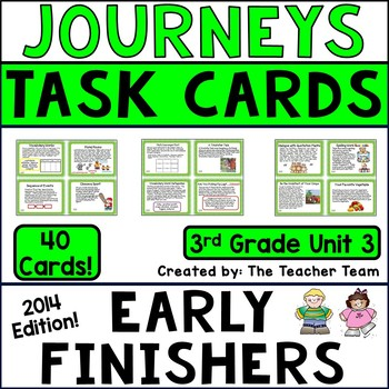 Journeys 3rd Grade Unit 3 Early Finishers Task Cards 2014
