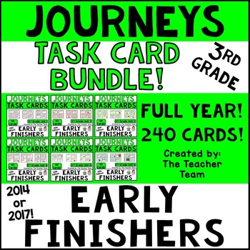Journeys 3rd Grade Units 1-6 Early Finishers Task Cards 2014