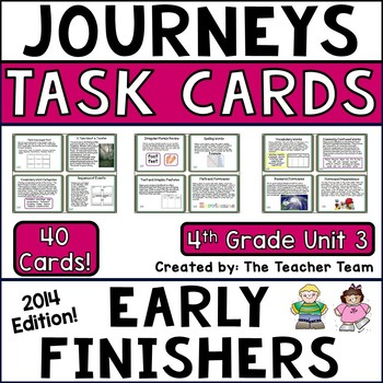 Journeys 4th Grade Unit 3 Early Finishers Task Cards 2014