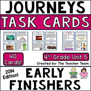 Journeys 4th Grade Unit 5 Early Finishers Task Cards 2014