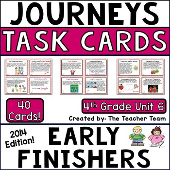 Journeys 4th Grade Unit 6 Early Finishers Task Cards 2014