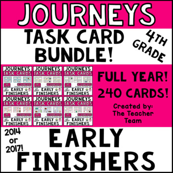 Journeys 4th Grade Units 1-6 Early Finishers Task Cards 2014