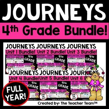 Journeys 4th Grade Reading Language Arts Units 1-6 Full Ye