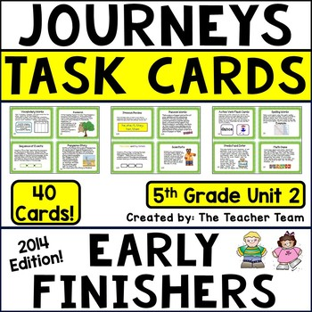 Journeys 5th Grade Unit 2 Early Finishers Task Cards 2014