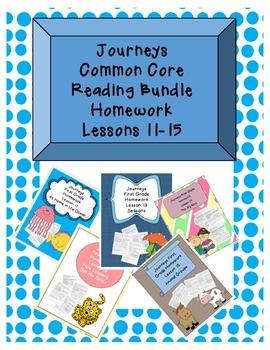 Journeys Common Core First Grade Homework Bundle Lessons 11-15