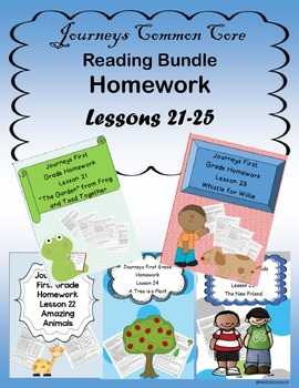 Journeys Common Core Homework Bundle Lessons 21-25 Book level 1.5