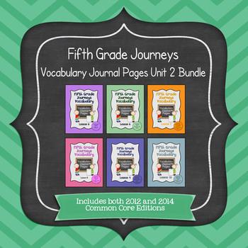 Journeys Fifth Grade Vocabulary Journal Pages Unit 2 Bundle