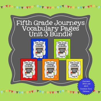 Journeys Fifth Grade Vocabulary Journal Pages Unit 3 Bundle