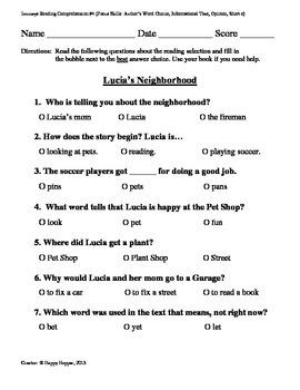 Teacher-Created 1st Grade Reading Test from Journeys, Lesson 4