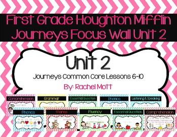 Journeys First Grade Unit 2 Focus Wall Chevron Lessons 6-10