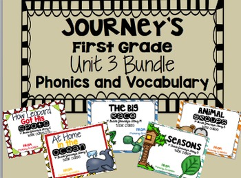 Journey's First Grade Unit 3 Bundle Phonics and Vocabulary