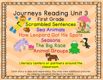 Journeys First Grade Unit 3 Bundle of Scrambled Sentences