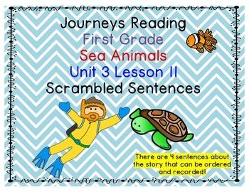 Journeys First Grade Unit 3 Lesson 11 Sea Animals Scramble