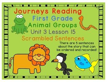 Animal Groups Scrambled Sentences Journeys First Grade Uni