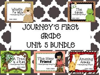 Journey's First Grade Unit 5 Bundle (5 Stories) Task Cards