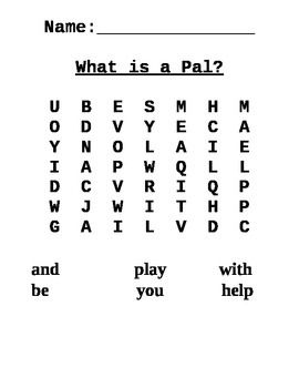 Journeys First Grade Word Search for Lesson 1 What is a Pal?