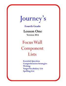 Houghton Mifflin Journey's Focus Wall Posters 4th Grade Ve