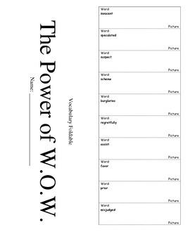 Journeys Fourth Grade Lesson 4 Vocabulary Foldable; The Po