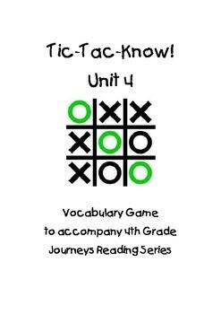 Journeys Fourth Grade Tic Tac Know! Vocabulary Unit 4