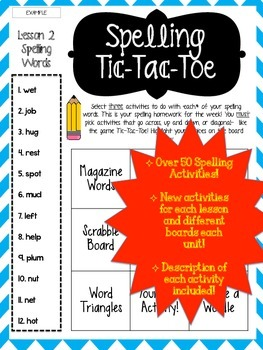 Journey's Grade 3 Unit 3 Lessons 11-15 Spelling Tic-Tac-To