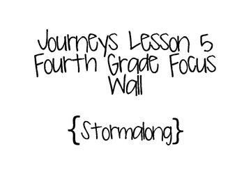 Journeys Grade 4 Lesson 5 Focus Wall