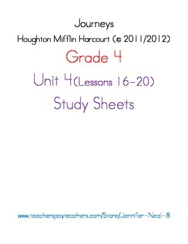 Journeys - HMH © 2011/2012 Grade 4 Unit 4 Study Sheets