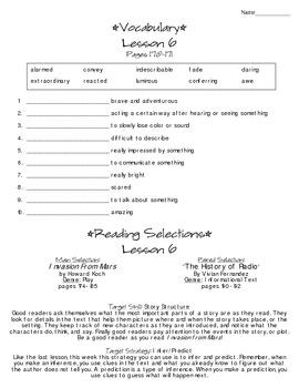 Journeys - HMH © 2014 Grade 4 Lesson 06 Study Sheet
