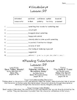 Journeys - HMH © 2014 Grade 4 Lesson 29 Study Sheet