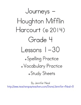 Journeys - HMH © 2014 Grade 4 Vocabulary, Spelling, & Stud