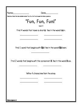Journeys - Houghton Mifflin - Decodable Reader Activities