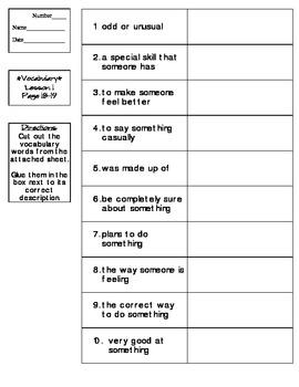Journeys - HMH © 2011/2012 Grade 4 Lesson 01 Vocabulary Practice