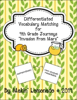 "Journeys: ""Invasion from Mars"" Differentiated Vocabulary M"