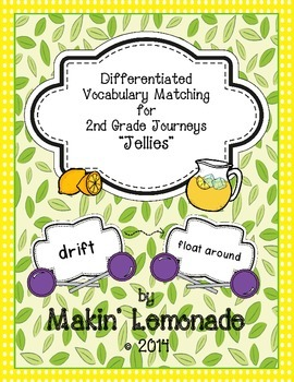 "Journeys: ""Jellies"" Differentiated Vocabulary Match Game"