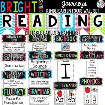 {BRIGHT COLORS} Journeys Kindergarten Focus Wall Set + Edi