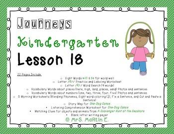 Journeys Kindergarten Lesson 18 Morning Work and Vocabulary