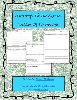 Journeys Kindergarten Lesson 24 Homework