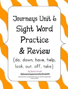 Journeys Kindergarten Unit 6 Sight Word Practice