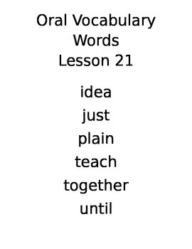 Journeys Kindergarten Vocabulary Posters Lessons 21-25
