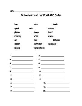 Journeys Lesson 13 Schools Around the World ABC Order Worksheet