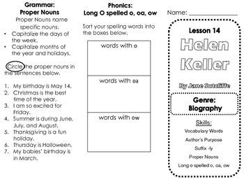 Journeys Lesson 14 Helen Keller Skills Trifold