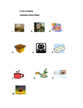 Journeys Lesson 18 A Tree is Growing Vocabulary Picture Board