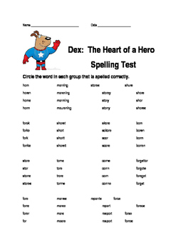 Journeys Lesson 20 Dex: The Heart of a Hero Spelling Test