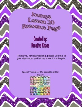 3rd Grade Journeys Lesson 20 Resource Page