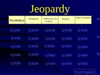 Journeys Lesson 20 Sacagawea Jeopardy