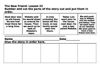 Journeys Lesson 25 Cut and Paste Sequence