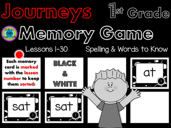 Journeys Memory Game- 1st Grade~ Spelling & Words to Know