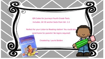 Journeys QR Codes For Weekly Texts- Fourth Grade