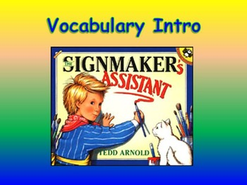 """Journeys 2nd Lesson 19 Vocab Intro PPT for """"The Signmaker'"""